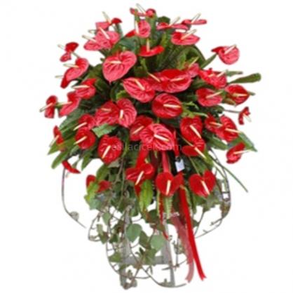 Ferforje Çiçek Kırmızı Antoryum